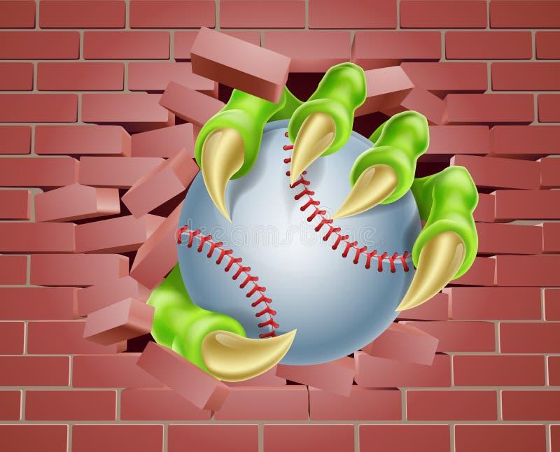 Artiglio con la palla di baseball che attraversa il muro di mattoni illustrazione di stock
