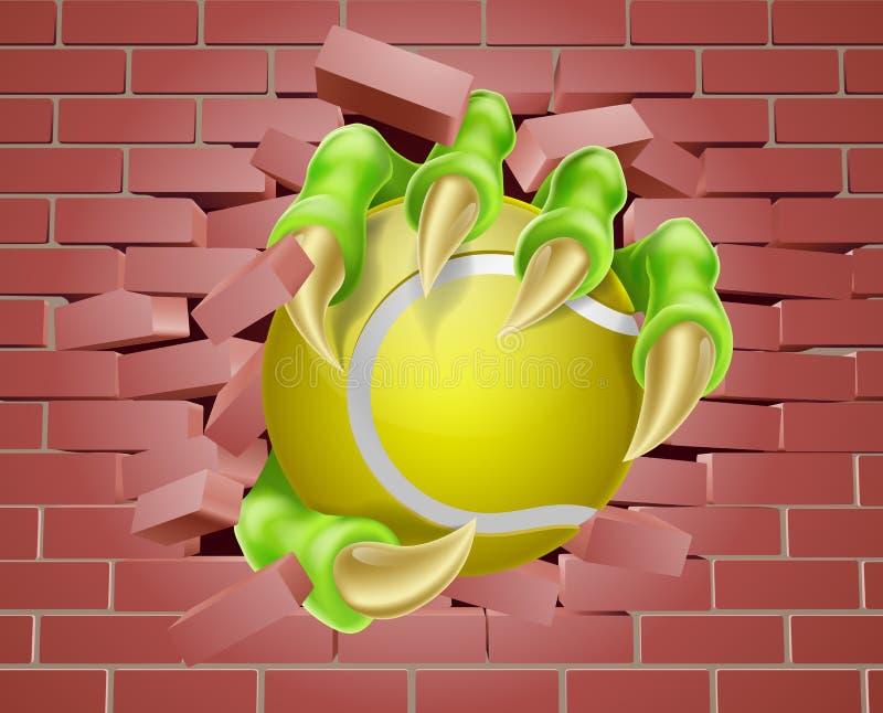 Artiglio con pallina da tennis che attraversa il muro di mattoni illustrazione di stock
