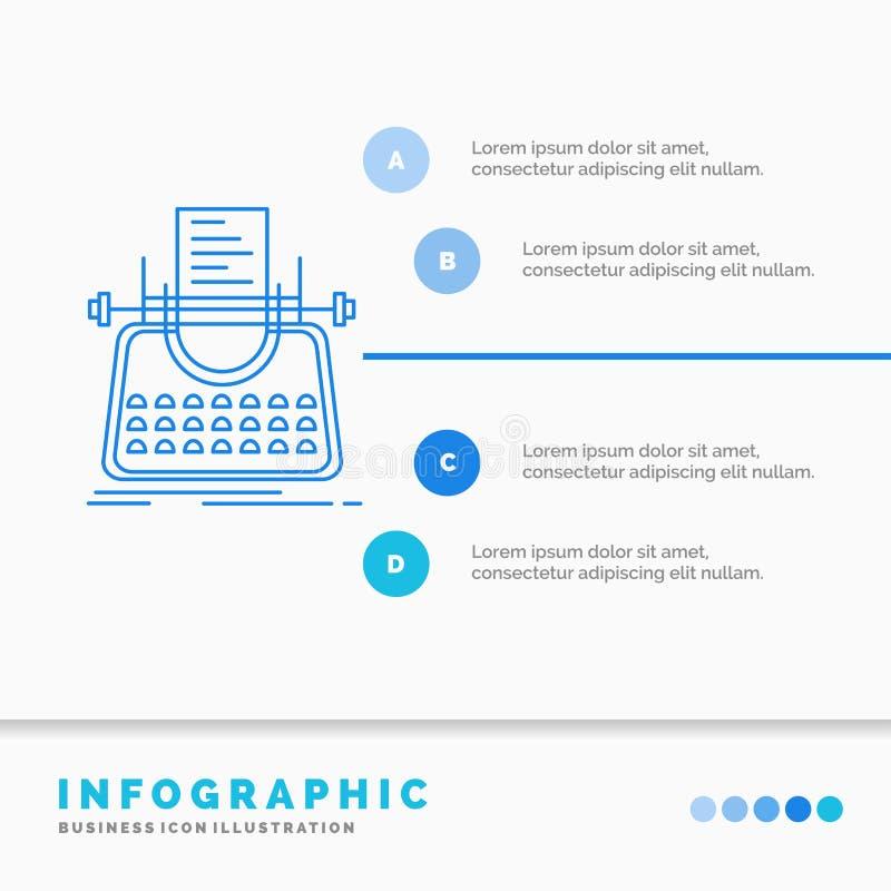 Artigo, blogue, hist?ria, m?quina de escrever, escritor Infographics Template para o Web site e apresenta??o Linha estilo infogra ilustração do vetor