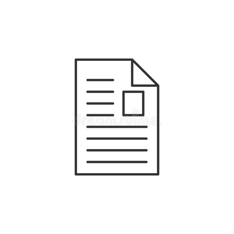 Artigo, linha ícone do arquivo Ilustração lisa simples, moderna do vetor para o app móvel, Web site ou desktop app ilustração stock