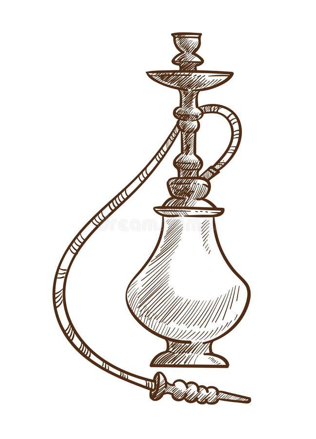 Artigo oriental do cachimbo de água para a ilustração de fumo do vetor do esboço ilustração do vetor