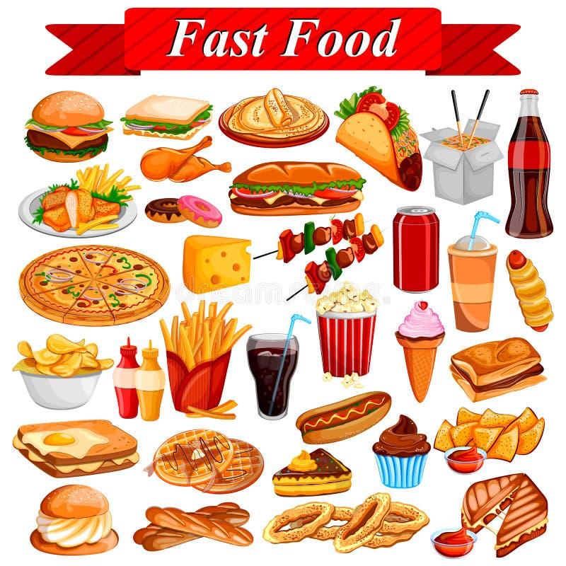 Artigo saboroso delicioso do fast food e da bebida ilustração royalty free