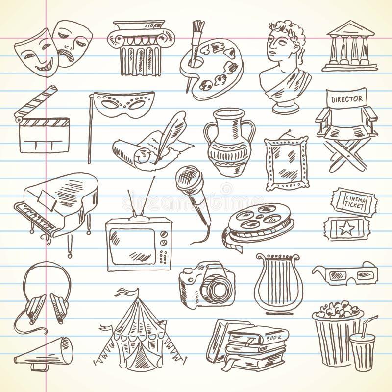 Artigos da cultura e da arte do desenho a mão livre ilustração royalty free