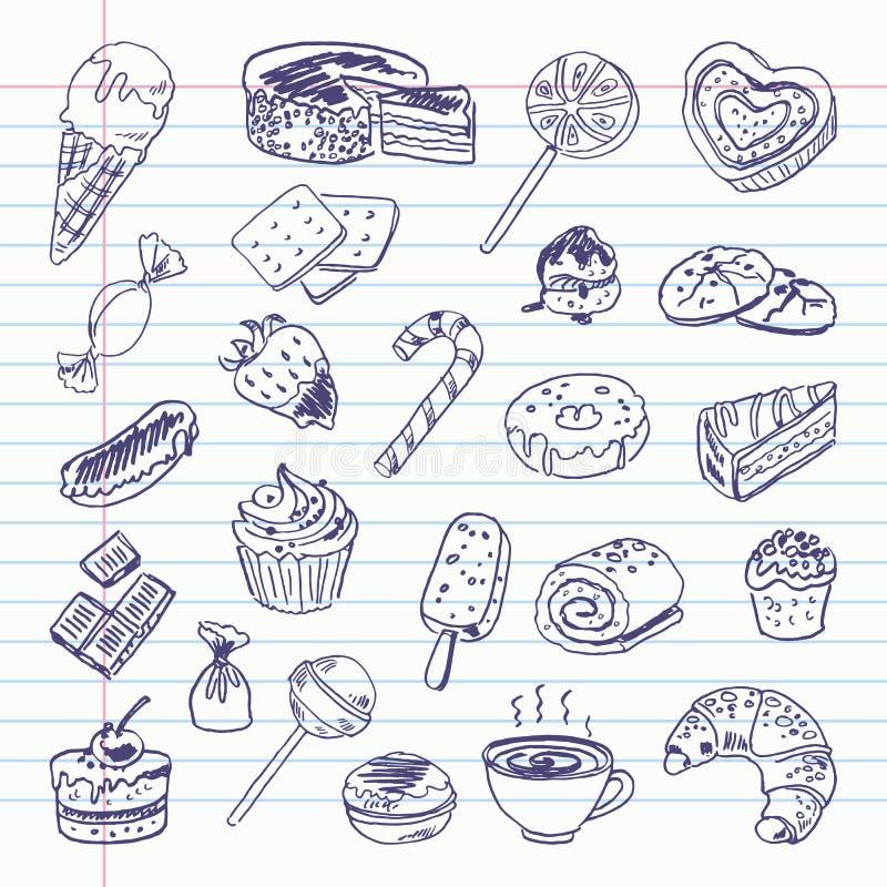 Artigos da doçura do desenho a mão livre ilustração do vetor