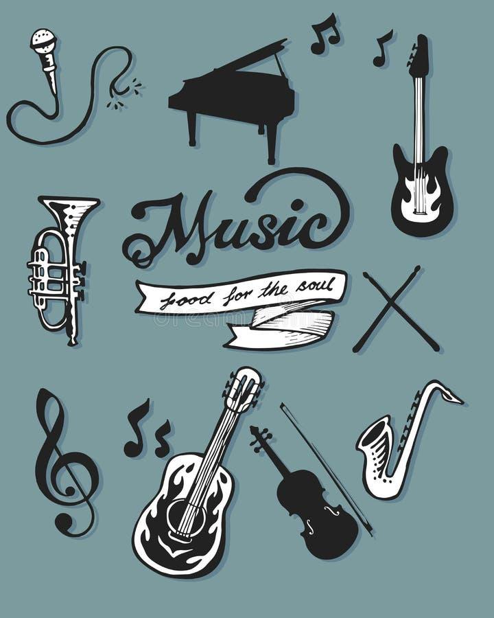 Artigos da música ilustração royalty free
