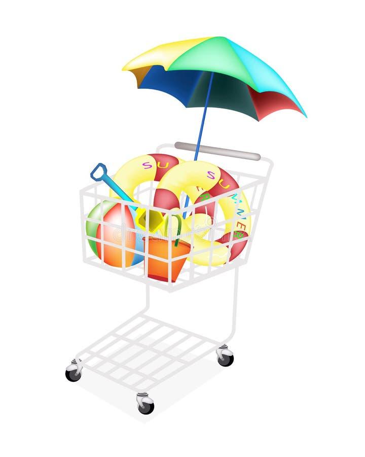Artigos da praia para o verão no carrinho de compras ilustração do vetor