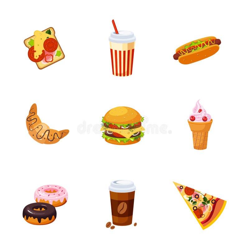 Artigos de fast food ajustados ilustração royalty free