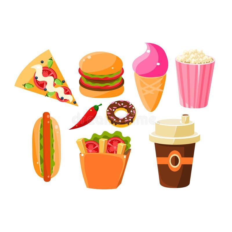 Artigos de fast food ajustados de ícones isolados ilustração royalty free