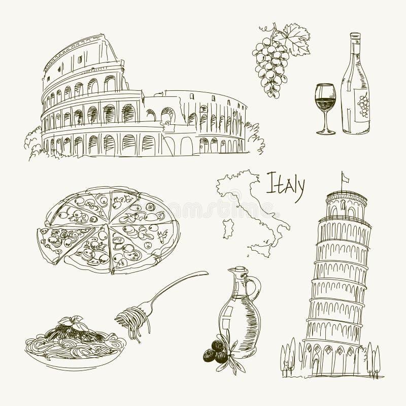Artigos de Itália do desenho a mão livre ilustração stock