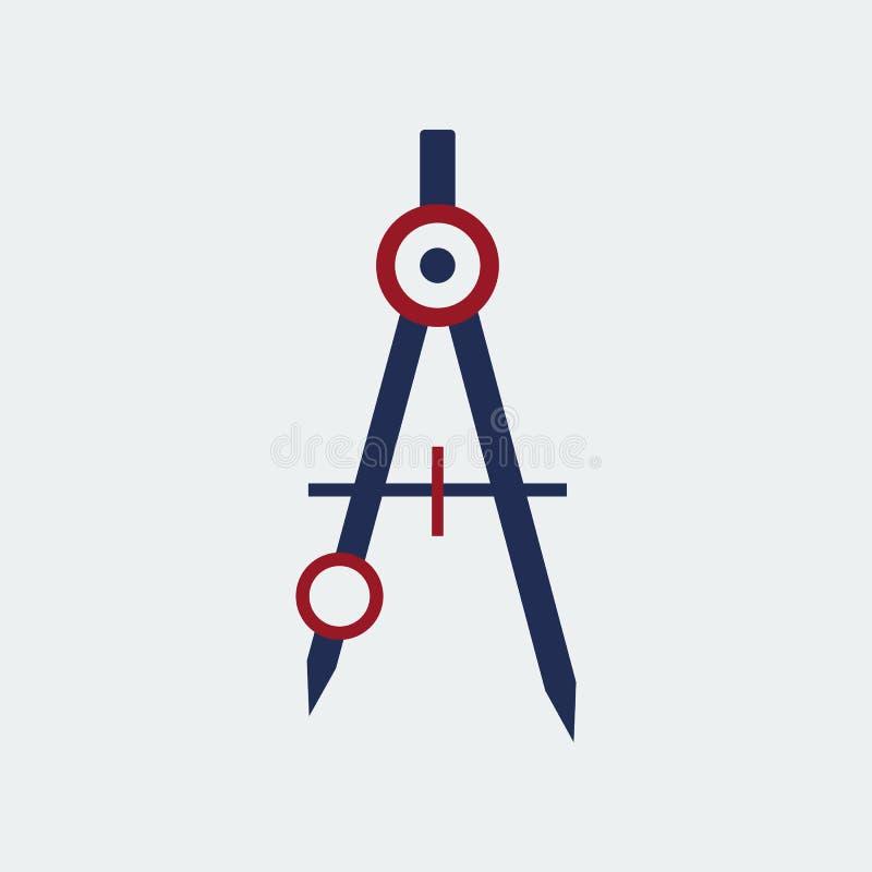 Artigos de papelaria coloridos do ícone do compasso de tiragem Projeto liso Ilustração do vetor ilustração stock