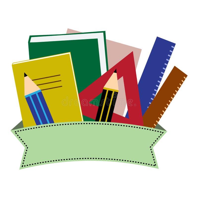 Artigos de papelaria coloridos Escola ou materiais de escritório com a fita Ilustra??o do vetor ilustração stock