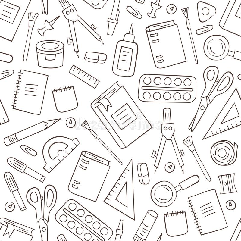 Artigos de papelaria da escola e do escritório Teste padrão sem emenda no estilo da garatuja e dos desenhos animados esboço ilustração do vetor