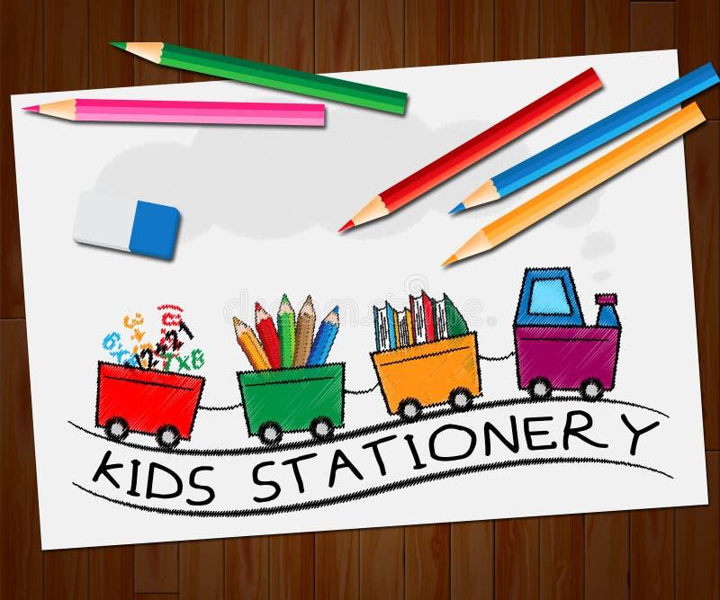 Artigos de papelaria das crianças que mostram a ilustração dos materiais 3d da escola ilustração royalty free