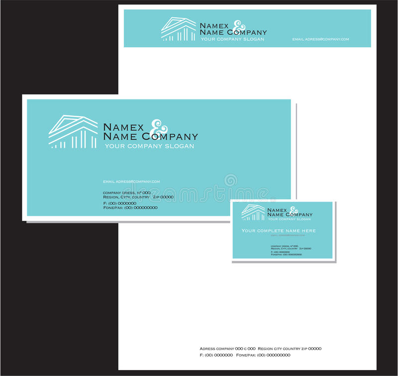 Artigos de papelaria e cartão do negócio ilustração do vetor