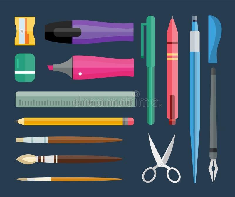 Artigos de papelaria e ferramentas de desenho lisos, grupo da pena ilustração stock