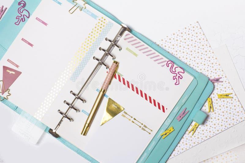 Artigos de papelaria femininos: a pasta de papel colorida grampeia a palma e o flamin foto de stock royalty free