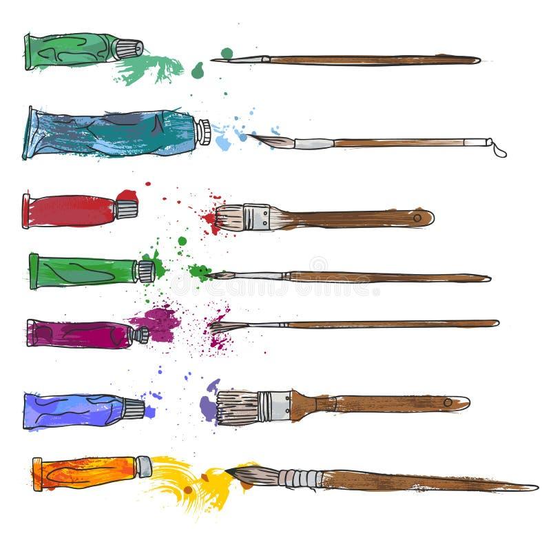 Artigos de papelaria, materiais da arte, grupo de escovas de pintura ilustração royalty free