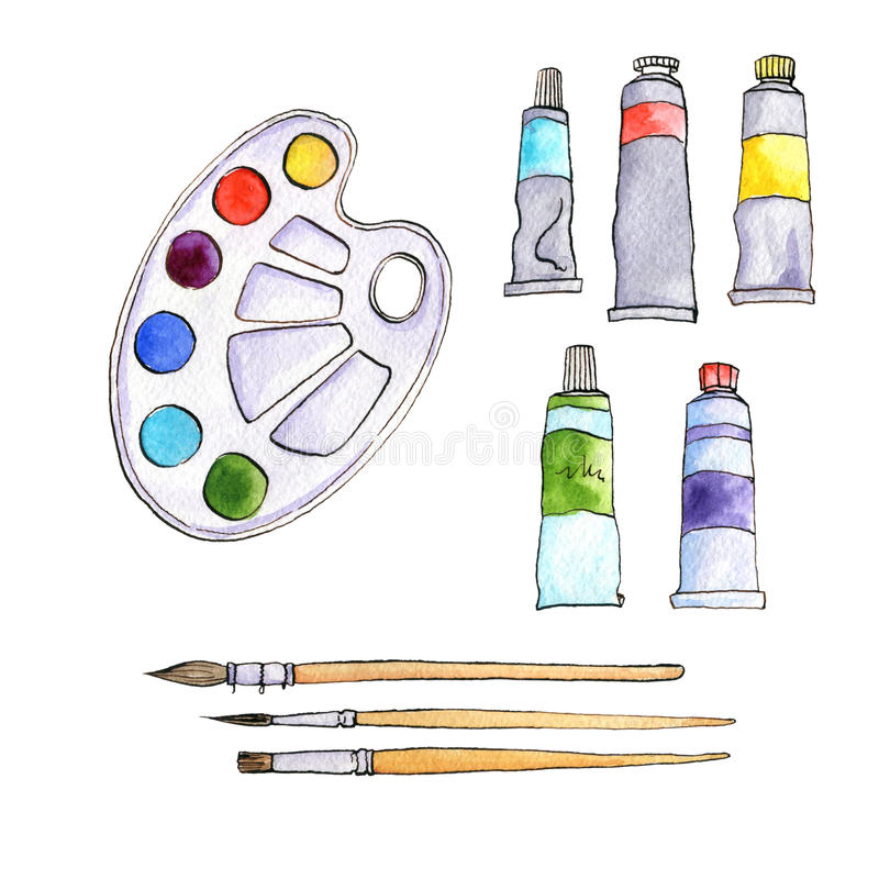 Artigos de papelaria, materiais da arte, grupo de escovas de pintura ilustração do vetor