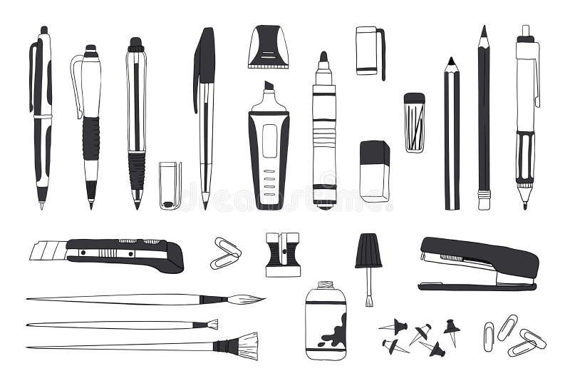 Artigos de papelaria tirados mão Lápis da pena da garatuja e de ferramentas, de escola e de escritório do pincel esboço dos acess ilustração do vetor