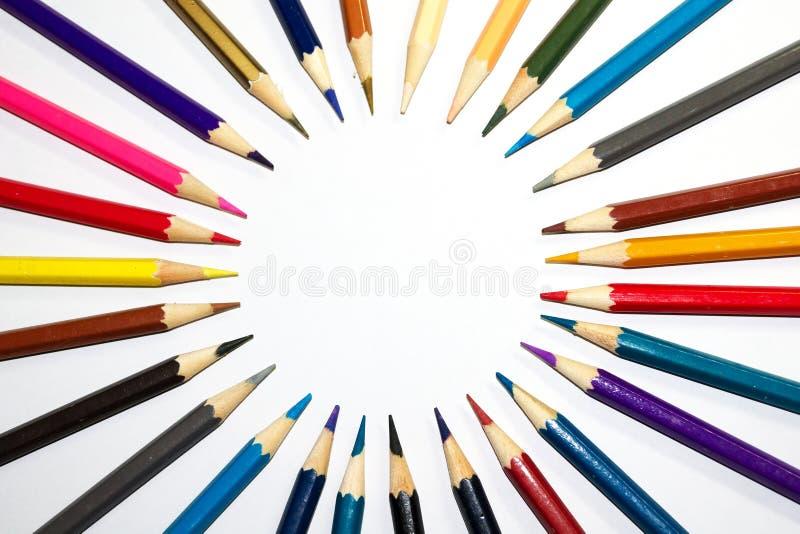 Artigos de papelaria usados para pintar a arte foto de stock