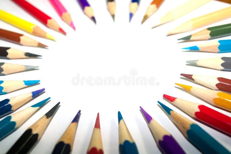 Artigos de papelaria usados para pintar a arte fotografia de stock