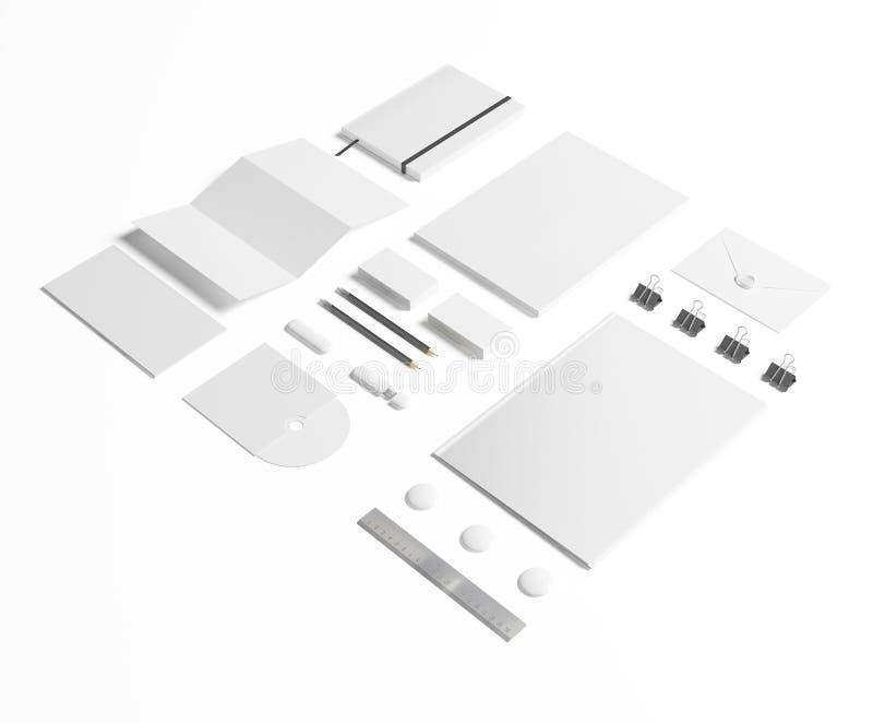 Artigos de papelaria vazios ajustados no branco ilustração stock