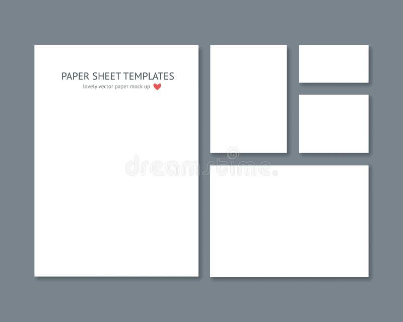 Artigos de papelaria vazios do vetor para o grupo incorporado da identificação isolado na obscuridade - cinza ilustração do vetor