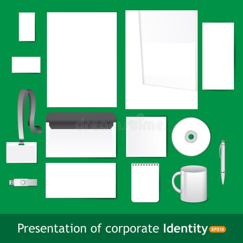 Artigos de papelaria vazios e molde incorporado da identificação ilustração do vetor