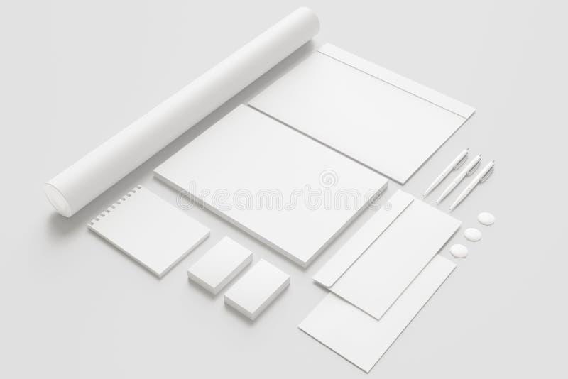 Artigos de papelaria vazios/grupo incorporado da identificação isolado no branco ilustração royalty free