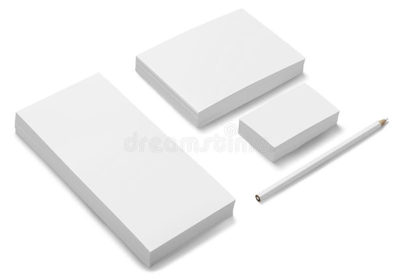 Artigos de papelaria vazios/grupo incorporado da identificação isolado sobre ilustração stock
