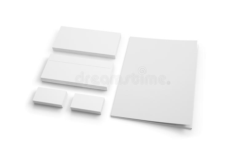 Artigos de papelaria vazios isolados no branco Envelopes, dobrador e busine ilustração do vetor