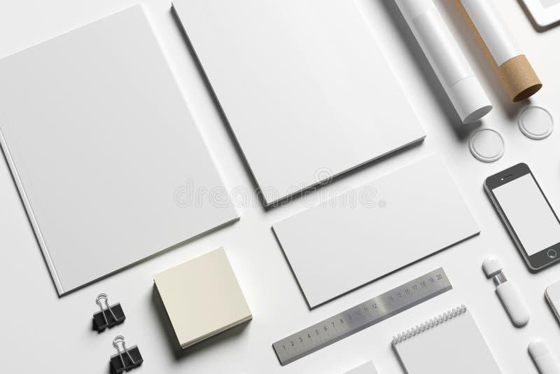 Artigos de papelaria vazios para substituir seu projeto ilustração stock