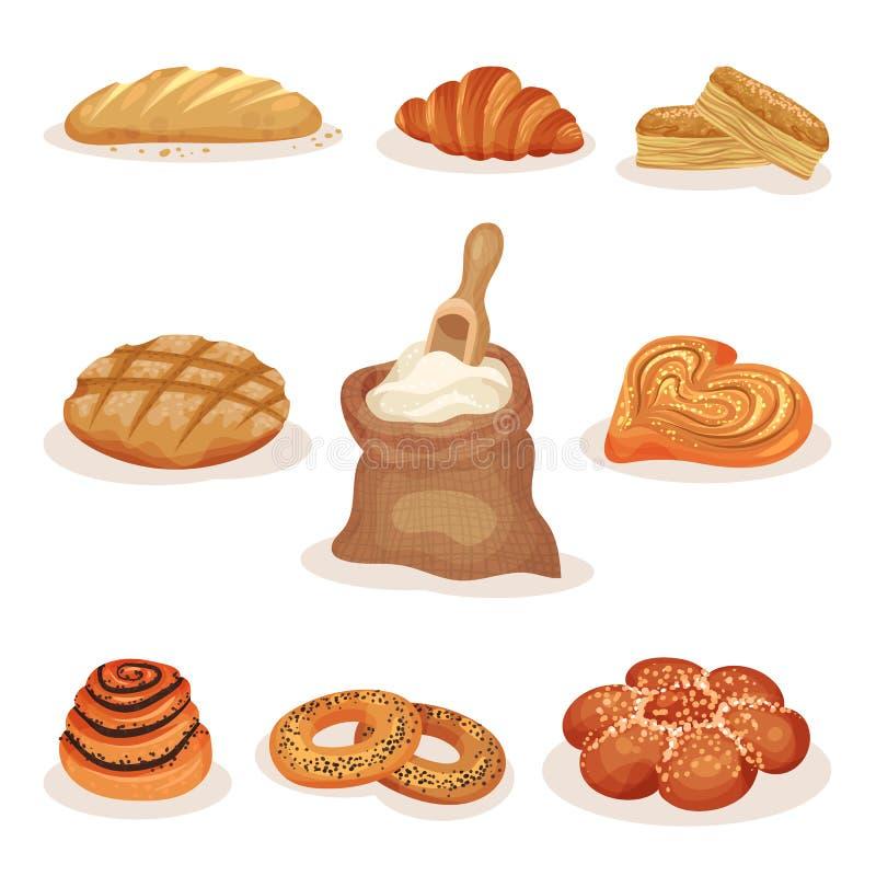 Artigos de pastelaria cozidos frescos grupo do pão e da padaria, naco, bolos doces, croissant, ilustração do vetor dos bagels em  ilustração do vetor