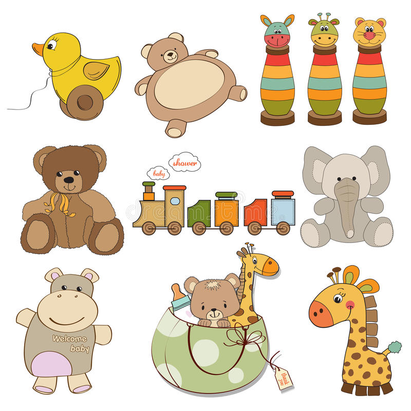 Artigos diferentes dos brinquedos para o bebê ilustração do vetor