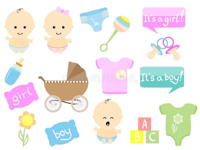 Artigos do bebê ilustração stock