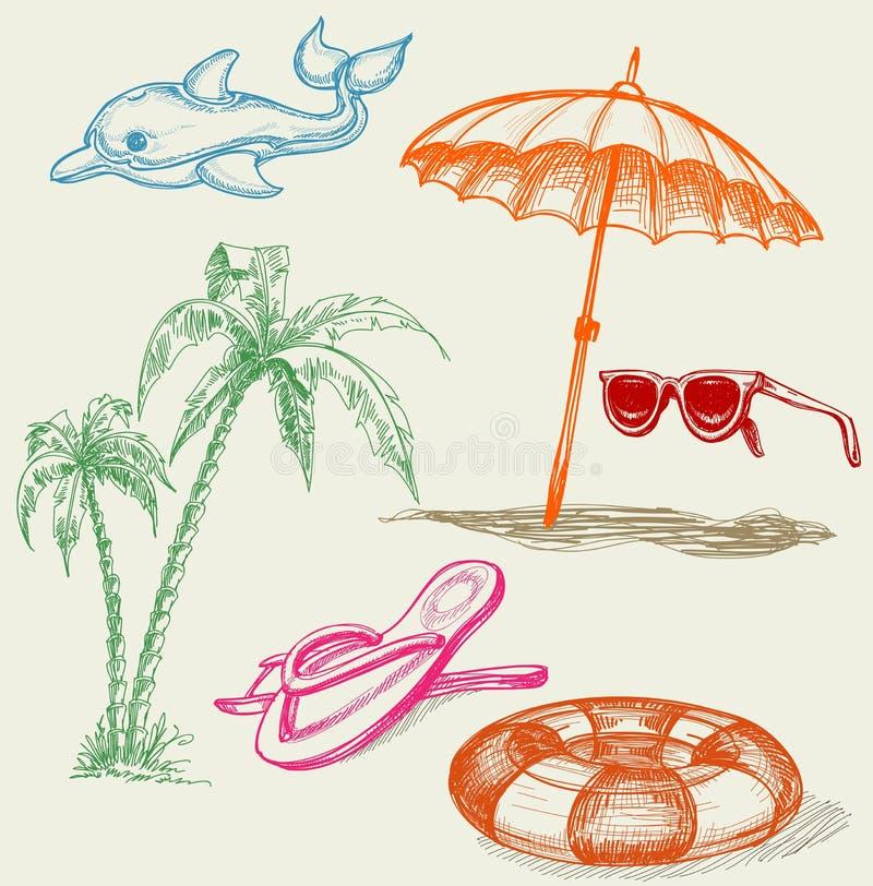 Artigos do feriado da praia do verão ilustração stock