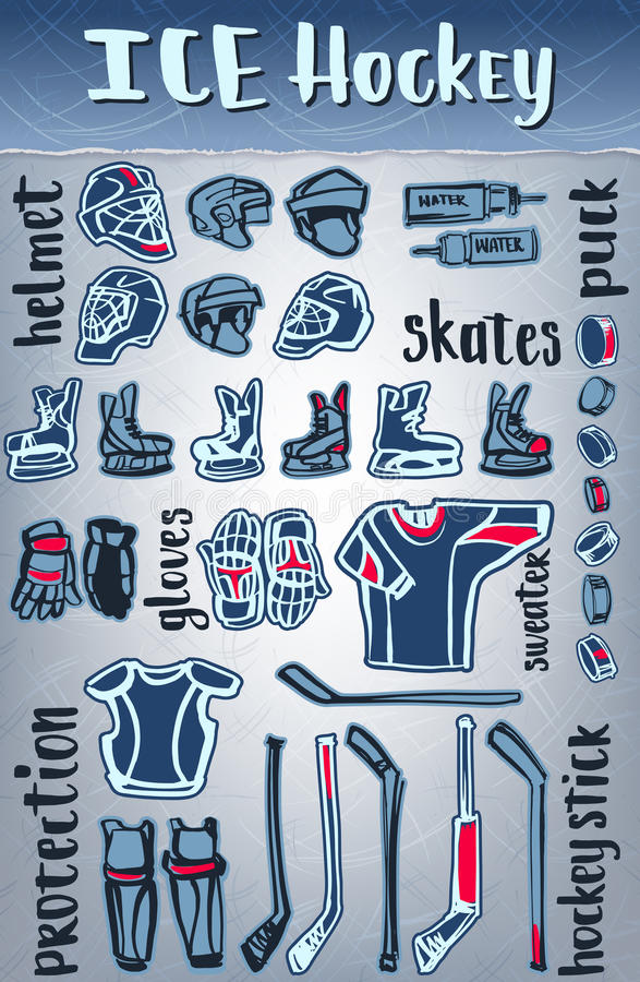 Artigos do hóquei em gelo do vetor O equipamento e protege Tema dos jogos do inverno ou projeto ostentando do campeonato ilustração royalty free