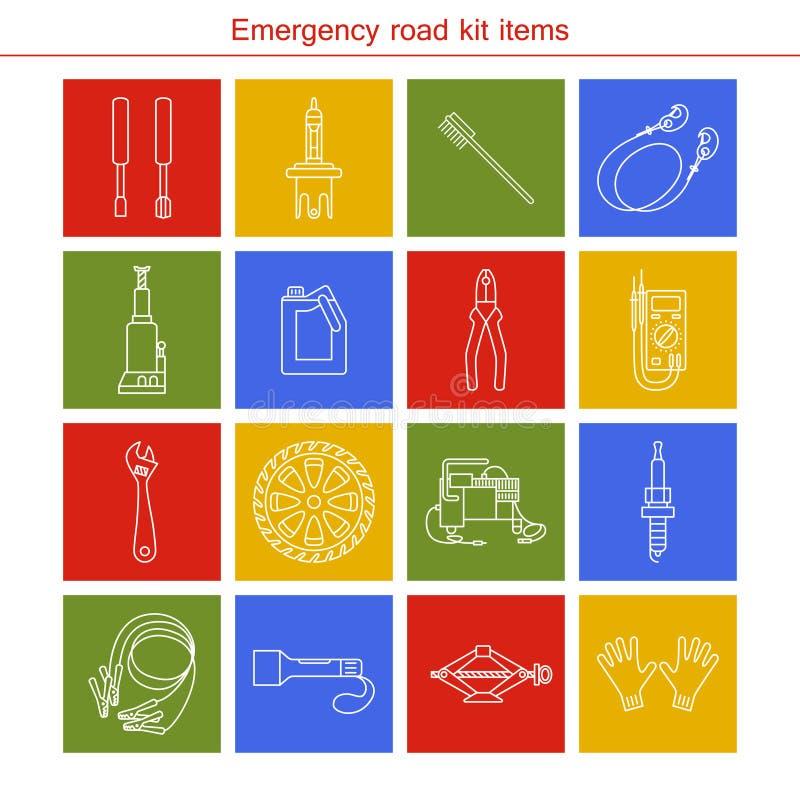 Artigos do jogo da estrada da emergência ilustração stock