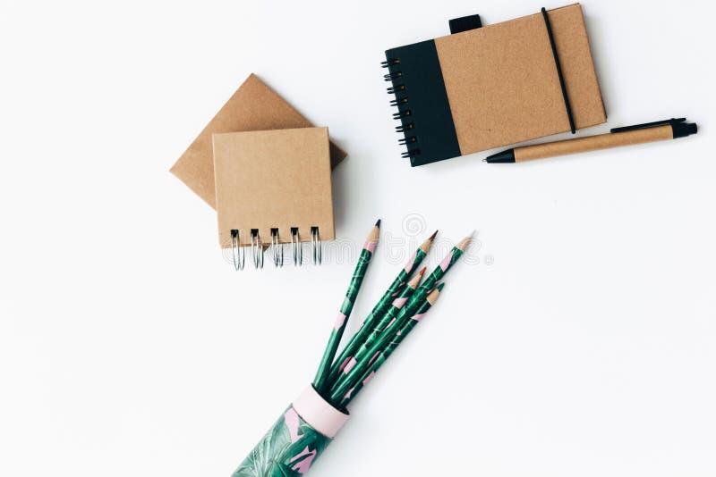 Artigos do ofício de Eco no fundo branco imagens de stock