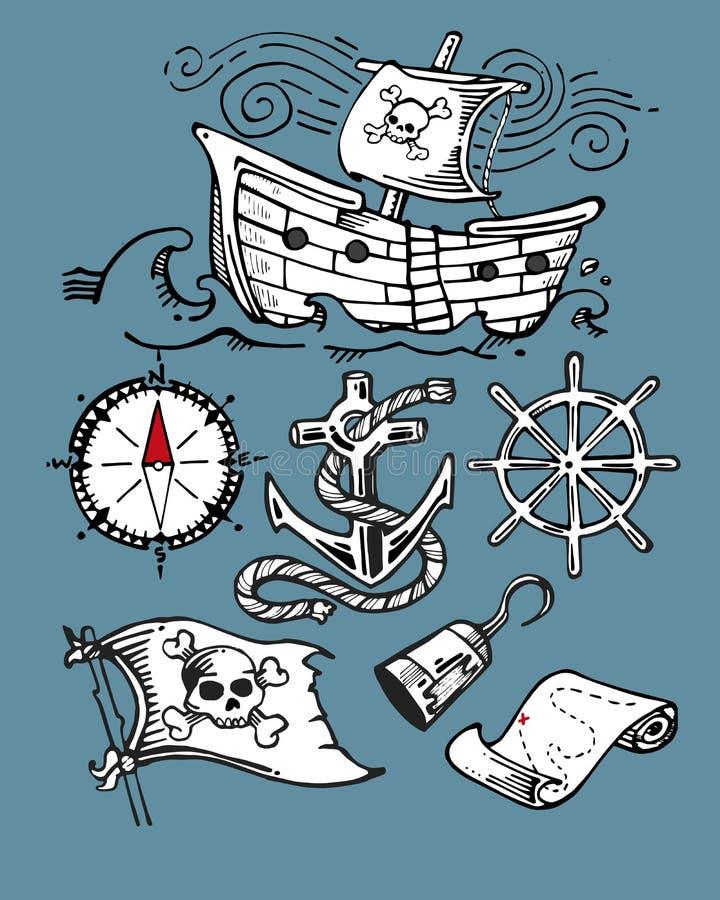 Artigos do pirata ilustração do vetor