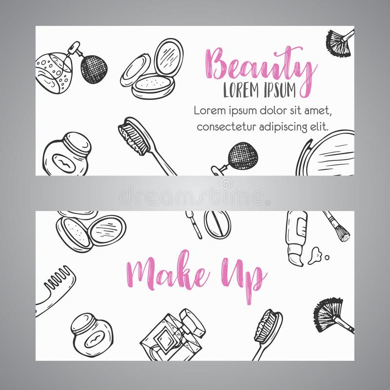 Artigos dos cosméticos da bandeira do negócio da composição Observe para a loja, salão de beleza, projeto do inseto, molde da Web ilustração do vetor