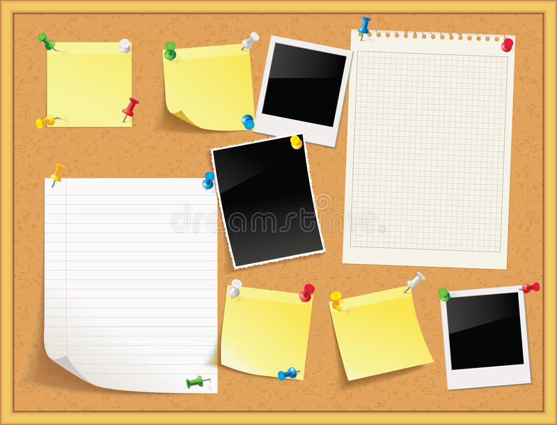 Artigos fixados a um quadro de mensagens da cortiça com quadro de madeira ilustração do vetor