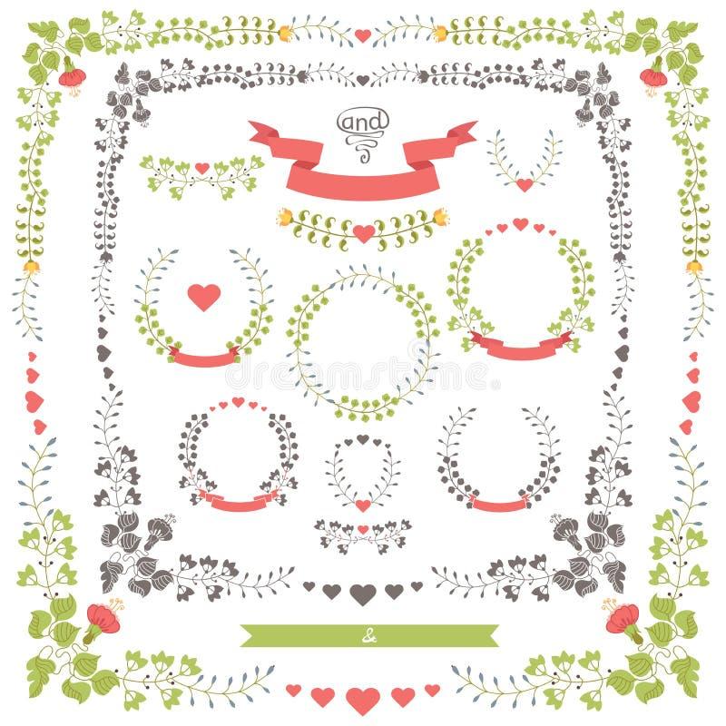 Artigos florais retros ajustados do casamento Molde do projeto do vetor ilustração stock