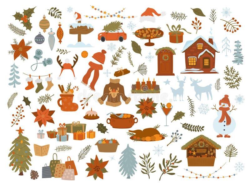 artigos grupo dos objetos do Natal, árvore do xmas, presentes das luzes, casa, carro, decoração, gráfico isolado folha da ilustra ilustração stock