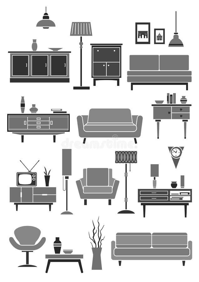 Artigos home do interior da mobília e do vetor ilustração do vetor