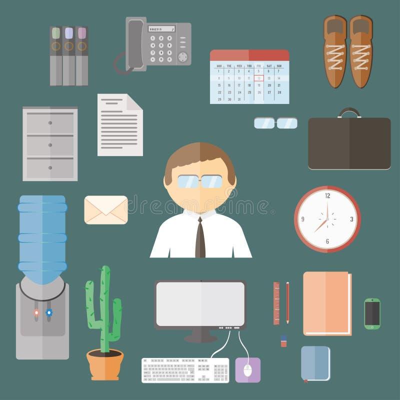 Artigos lisos do escritório dos desenhos animados ajustados Eletrônica ilustração royalty free