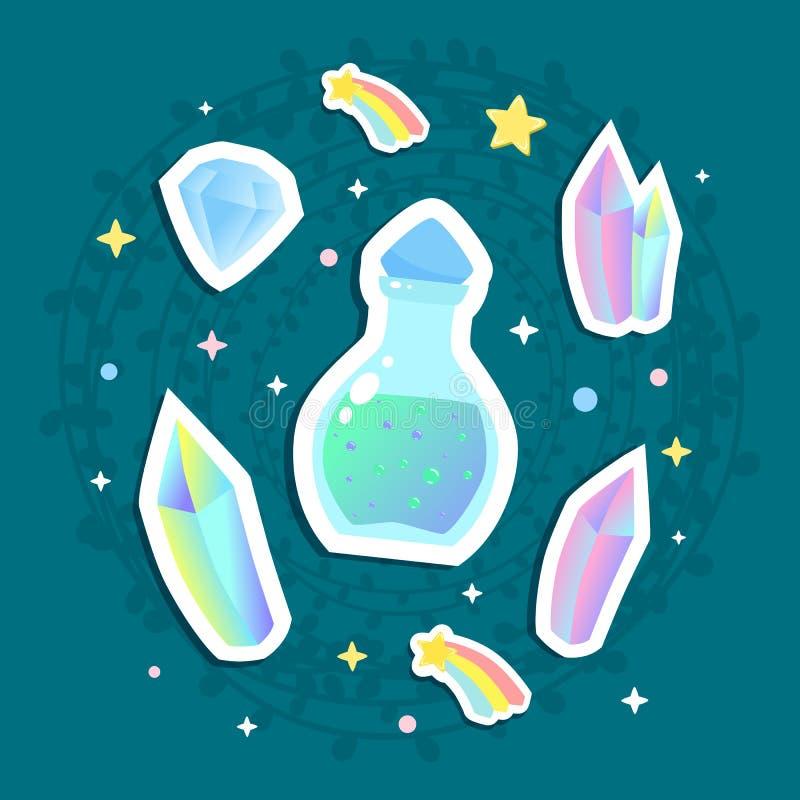 Artigos mágicos - cristal, garrafa da poção e illustrat das gemas ilustração stock