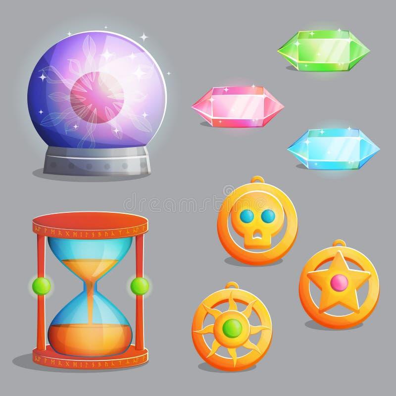 Artigos mágicos do equipamento para o projeto de jogo ilustração stock