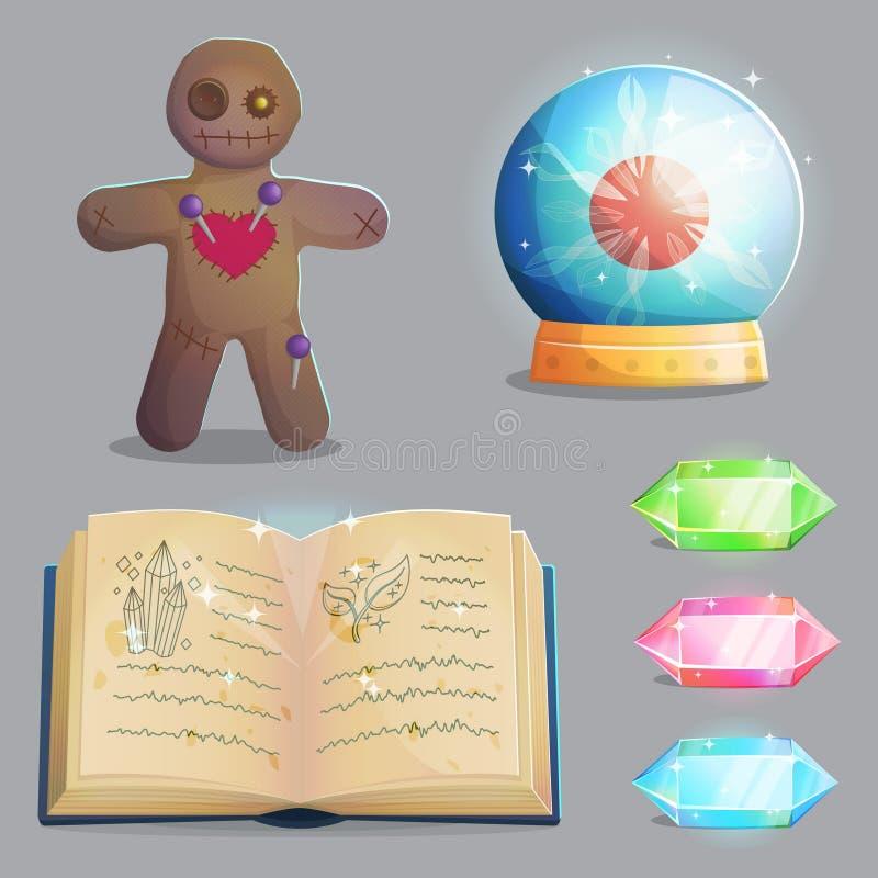 Artigos mágicos do equipamento para o projeto de jogo ilustração do vetor