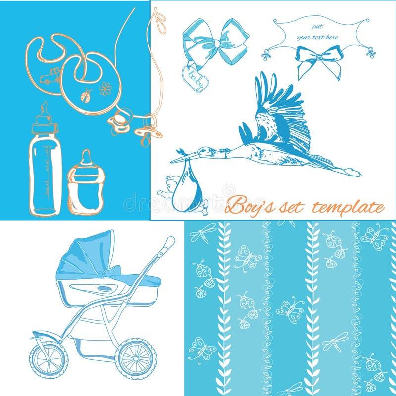 Artigos novos do bebê ajustados ilustração do vetor